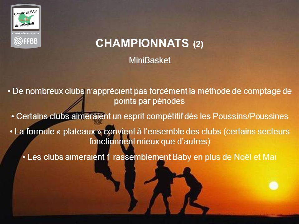 27 CHAMPIONNATS (2) MiniBasket De nombreux clubs napprécient pas forcément la méthode de comptage de points par périodes Certains clubs aimeraient un