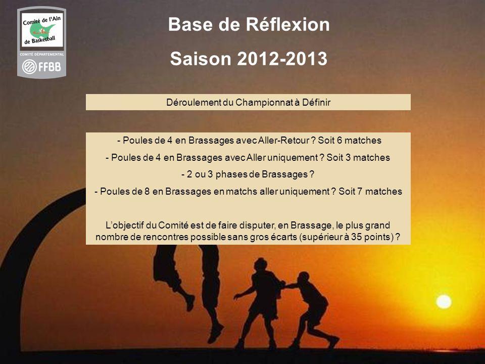 36 Base de Réflexion Saison 2012-2013 Déroulement du Championnat à Définir - Poules de 4 en Brassages avec Aller-Retour ? Soit 6 matches - Poules de 4