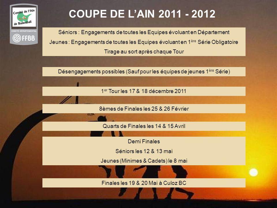 37 COUPE DE LAIN 2011 - 2012 Séniors : Engagements de toutes les Equipes évoluant en Département Jeunes : Engagements de toutes les Equipes évoluant e