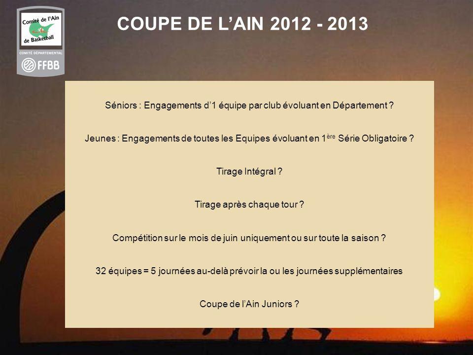38 COUPE DE LAIN 2012 - 2013 Séniors : Engagements d1 équipe par club évoluant en Département ? Jeunes : Engagements de toutes les Equipes évoluant en