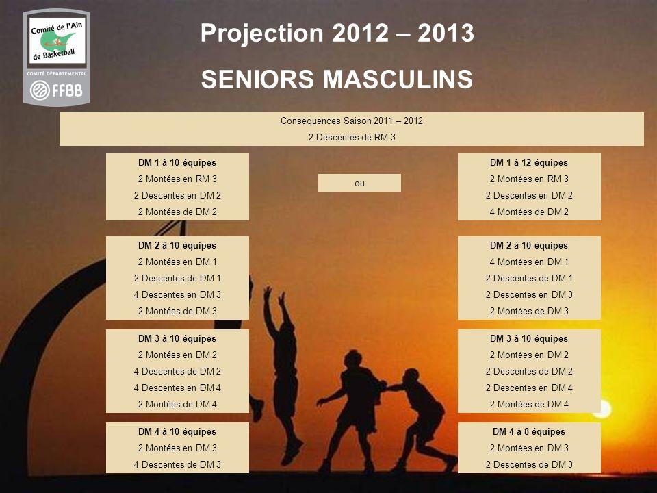 46 Projection 2012 – 2013 SENIORS MASCULINS Conséquences Saison 2011 – 2012 2 Descentes de RM 3 DM 1 à 10 équipes 2 Montées en RM 3 2 Descentes en DM