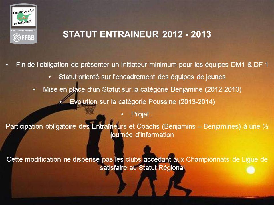 55 STATUT ENTRAINEUR 2012 - 2013 Fin de lobligation de présenter un Initiateur minimum pour les équipes DM1 & DF 1 Statut orienté sur lencadrement des