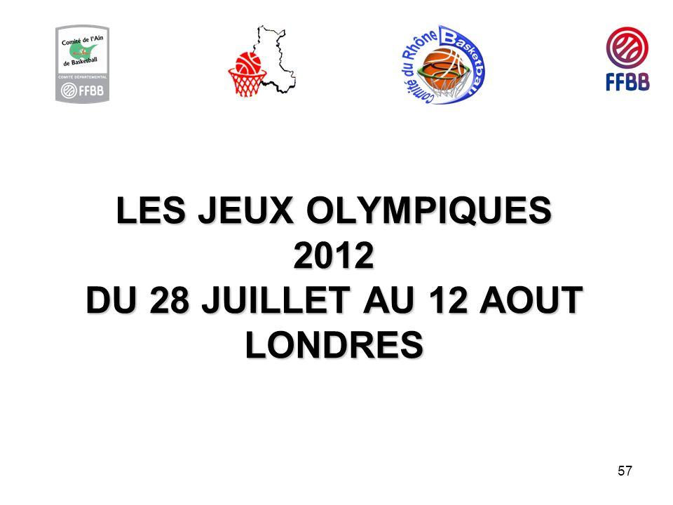 57 LES JEUX OLYMPIQUES 2012 DU 28 JUILLET AU 12 AOUT LONDRES