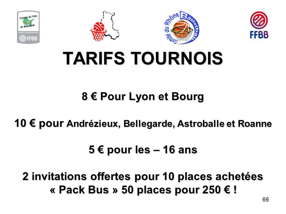 66 TARIFS TOURNOIS 8 Pour Lyon et Bourg 10 pour Andrézieux, Bellegarde, Astroballe et Roanne 5 pour les – 16 ans 2 invitations offertes pour 10 places
