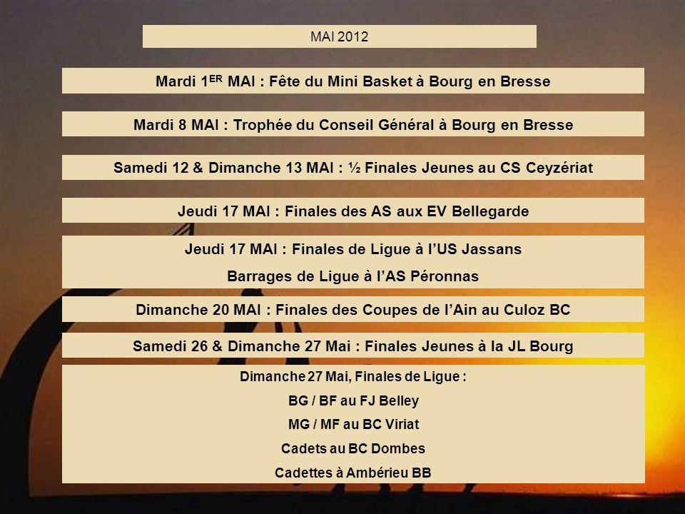 7 MAI 2012 Mardi 1 ER MAI : Fête du Mini Basket à Bourg en Bresse Mardi 8 MAI : Trophée du Conseil Général à Bourg en Bresse Samedi 12 & Dimanche 13 M
