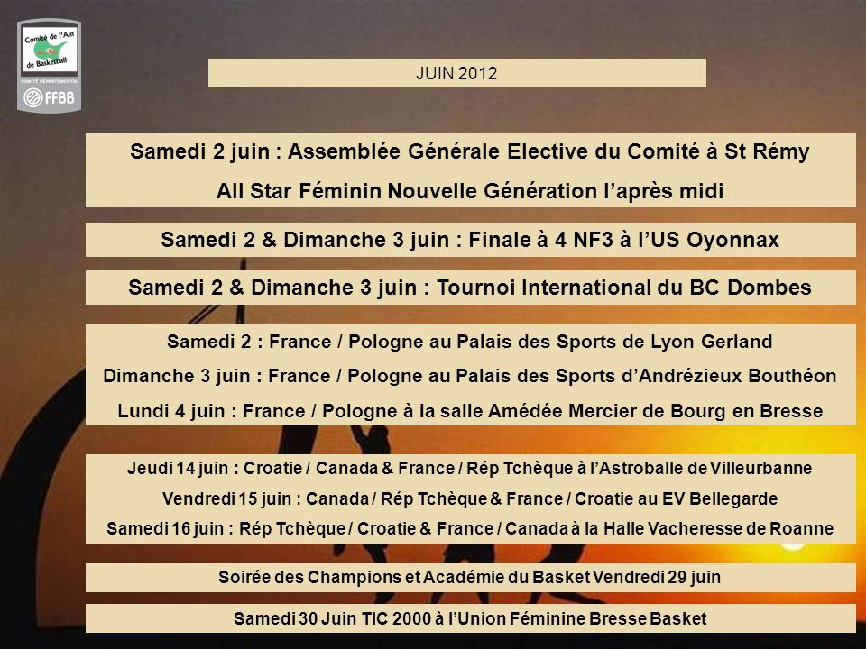 8 JUIN 2012 Samedi 2 & Dimanche 3 juin : Finale à 4 NF3 à lUS Oyonnax Samedi 2 juin : Assemblée Générale Elective du Comité à St Rémy All Star Féminin