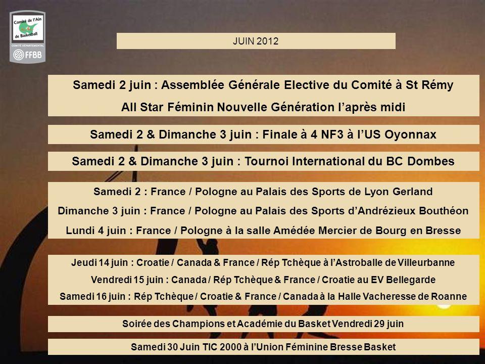 59 TOURNOIS PREPARATOIRES AU TQO 2-3-4 JUIN 2012 et 14-15-16 JUIN 2012 6 Sites