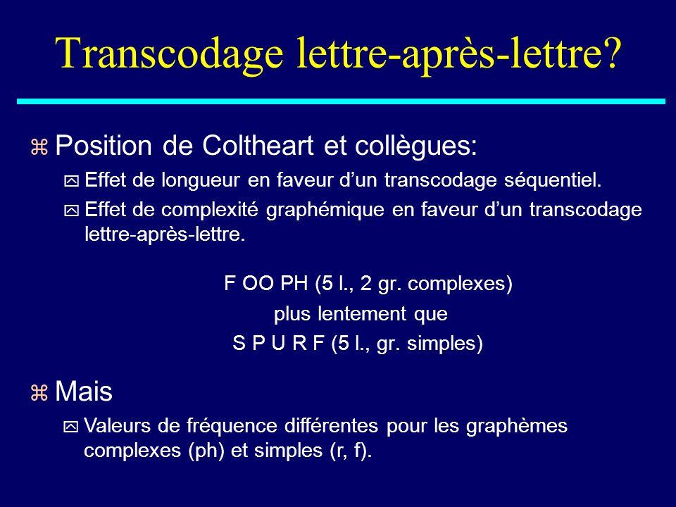 Transcodage lettre-après-lettre? z Position de Coltheart et collègues: y Effet de longueur en faveur dun transcodage séquentiel. y Effet de complexité