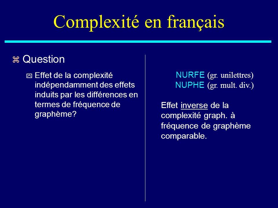 NURFE (gr. unilettres) NUPHE (gr. mult. div.) Effet inverse de la complexité graph. à fréquence de graphème comparable. Complexité en français z Quest