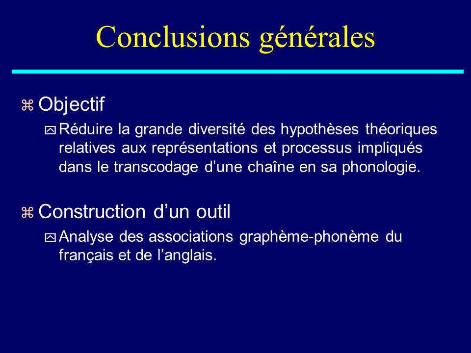 Conclusions générales z Objectif y Réduire la grande diversité des hypothèses théoriques relatives aux représentations et processus impliqués dans le