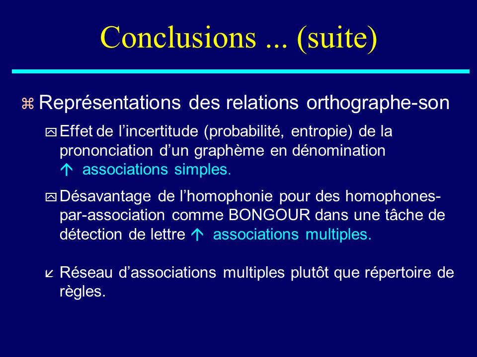 Conclusions... (suite) z Représentations des relations orthographe-son y Effet de lincertitude (probabilité, entropie) de la prononciation dun graphèm