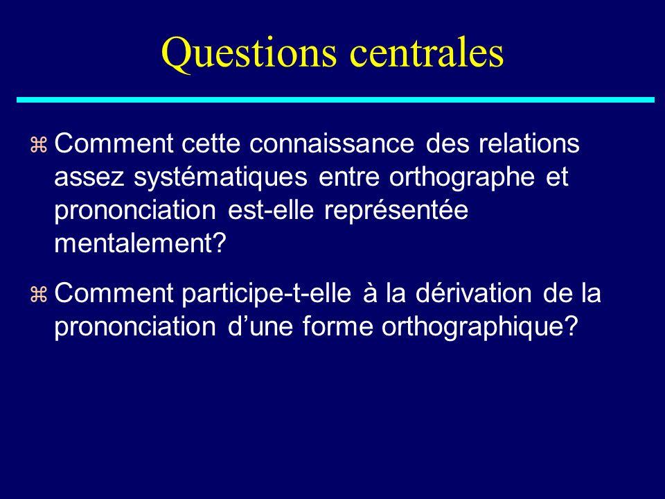 Questions centrales z Comment cette connaissance des relations assez systématiques entre orthographe et prononciation est-elle représentée mentalement