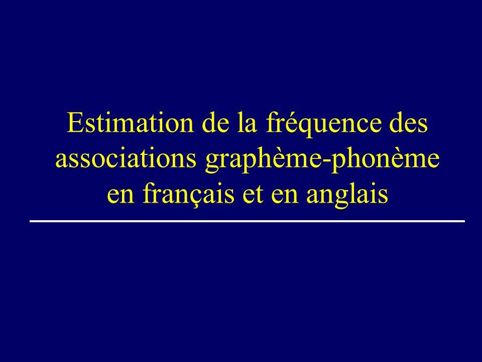 Estimation de la fréquence des associations graphème-phonème en français et en anglais