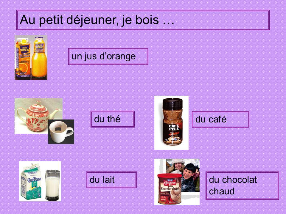 *n cr*iss*nt *n p*in a* ch*col*t d* p*in d*s fr*its d*s c*ré*les d* l* c*nfit*r* d* thé d* c*fé d* l*it d* ch*col*t ch*ud *n j*s dor*ng* un croissant un pain au chocolat du pain des fruits des céréales de la confiture du thé du café du lait du chocolat chaud un jus dorange