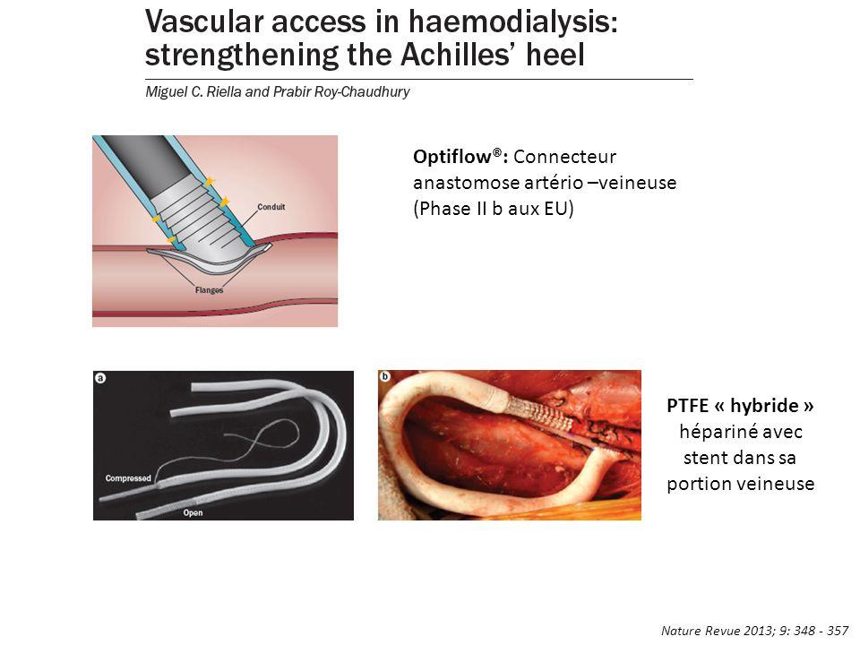 Optiflow®: Connecteur anastomose artério –veineuse (Phase II b aux EU) PTFE « hybride » hépariné avec stent dans sa portion veineuse Nature Revue 2013