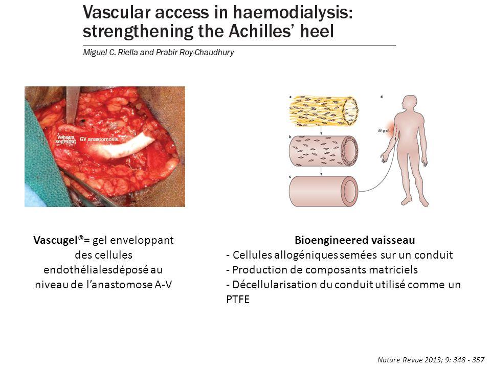 Vascugel®= gel enveloppant des cellules endothélialesdéposé au niveau de lanastomose A-V Bioengineered vaisseau - Cellules allogéniques semées sur un