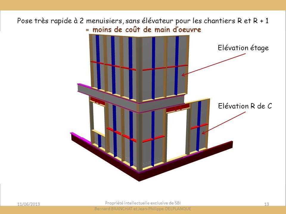 11/06/201313 Propriété intellectuelle exclusive de SBI Bernard BRANCHAT et Jean-Philippe DELPLANQUE Elévation étage Elévation R de C Pose très rapide à 2 menuisiers, sans élévateur pour les chantiers R et R + 1 = moins de coût de main doeuvre
