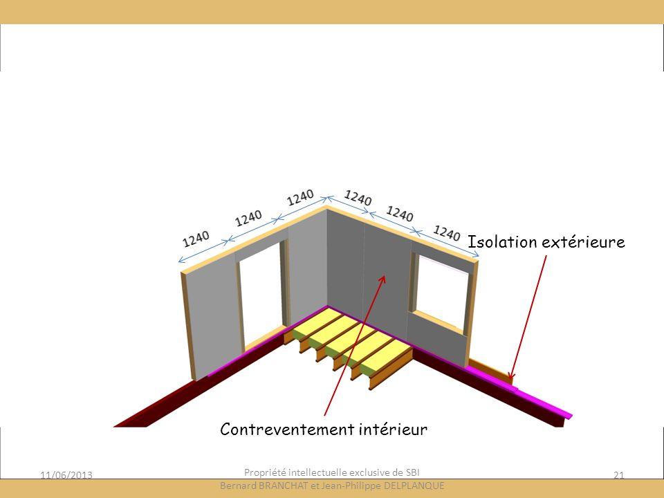 11/06/201321 Propriété intellectuelle exclusive de SBI Bernard BRANCHAT et Jean-Philippe DELPLANQUE Isolation extérieure Contreventement intérieur