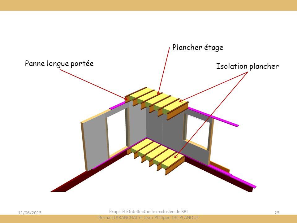 11/06/201323 Propriété intellectuelle exclusive de SBI Bernard BRANCHAT et Jean-Philippe DELPLANQUE Plancher étage Panne longue portée Isolation plancher