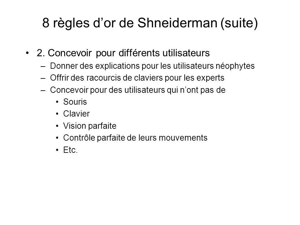 8 règles dor de Shneiderman (suite) 2.