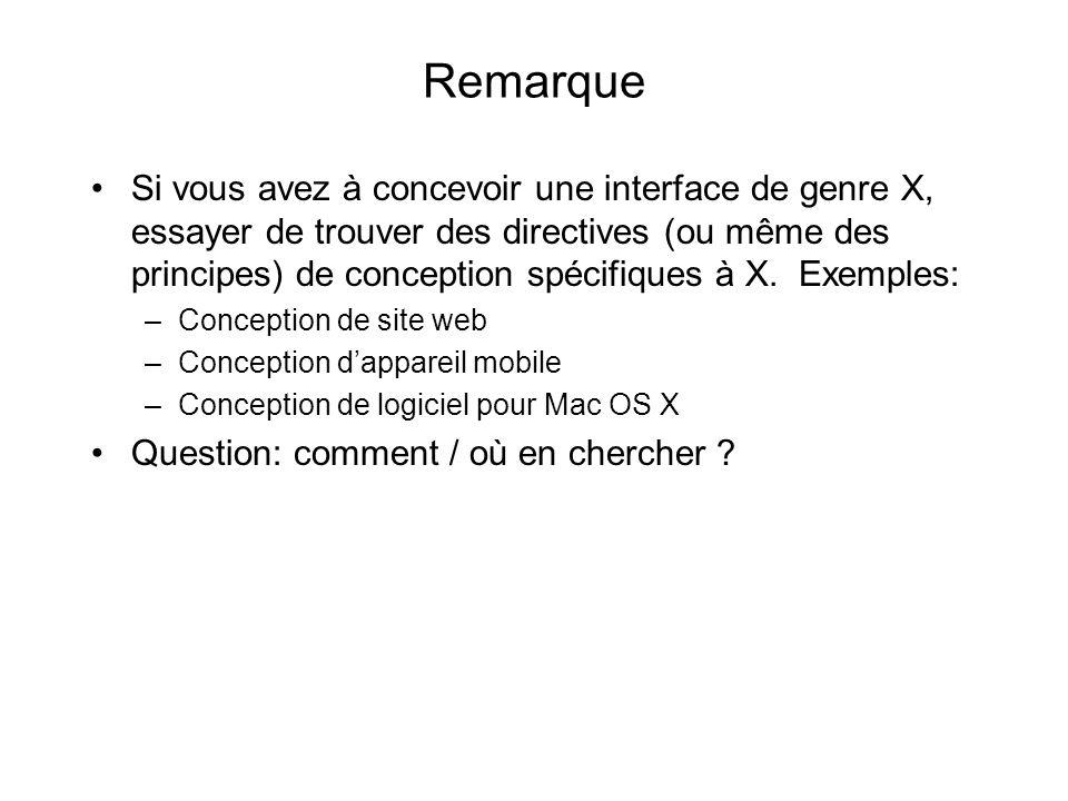 Remarque Si vous avez à concevoir une interface de genre X, essayer de trouver des directives (ou même des principes) de conception spécifiques à X.