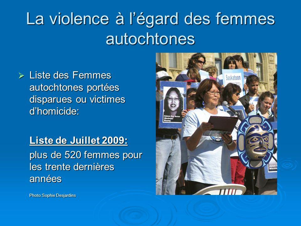La violence à légard des femmes autochtones Liste des Femmes autochtones portées disparues ou victimes dhomicide: Liste des Femmes autochtones portées