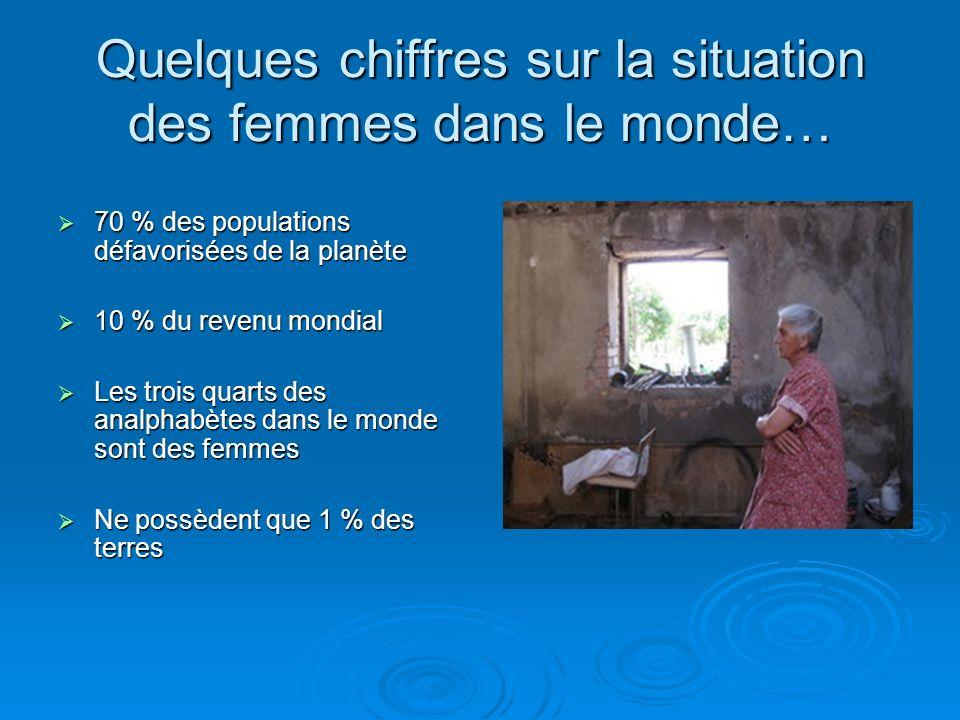 Quelques chiffres sur la situation des femmes dans le monde… 70 % des populations défavorisées de la planète 70 % des populations défavorisées de la p