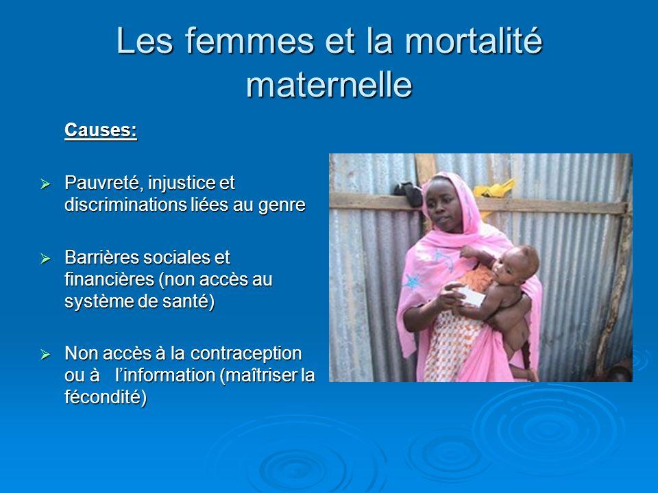 Les femmes et la mortalité maternelle Causes: Pauvreté, injustice et discriminations liées au genre Pauvreté, injustice et discriminations liées au ge