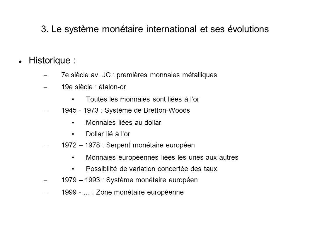 3. Le système monétaire international et ses évolutions Historique : – 7e siècle av. JC : premières monnaies métalliques – 19e siècle : étalon-or Tout