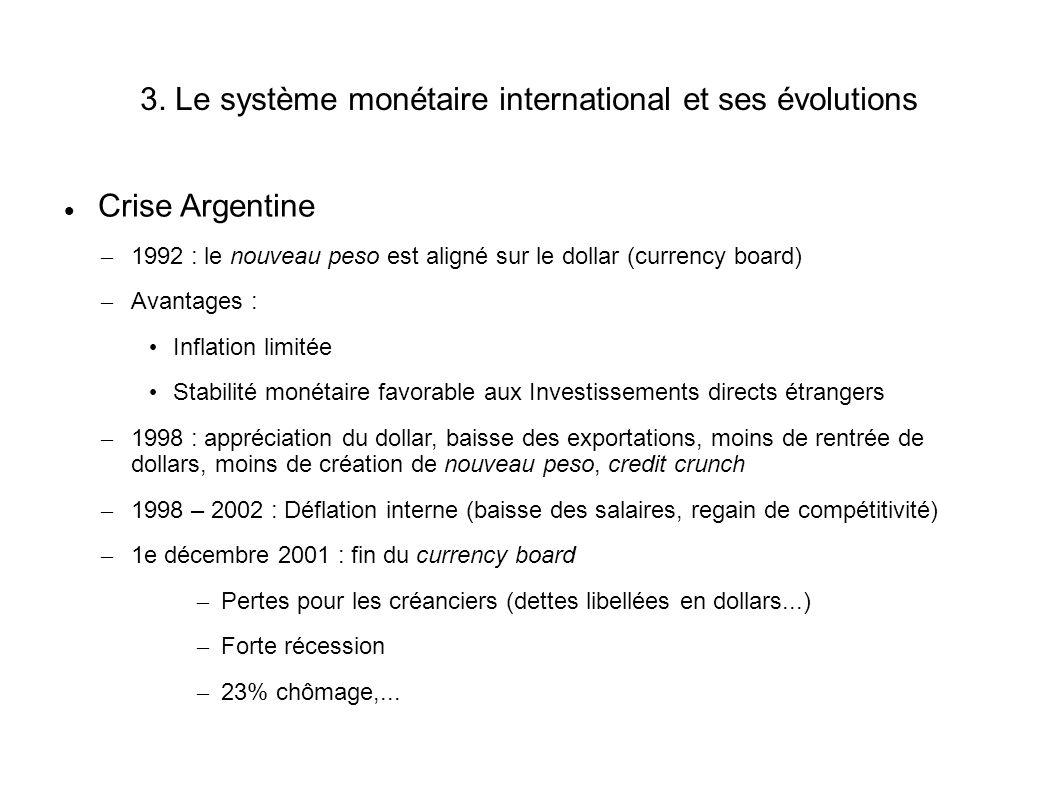 3. Le système monétaire international et ses évolutions Crise Argentine – 1992 : le nouveau peso est aligné sur le dollar (currency board) – Avantages
