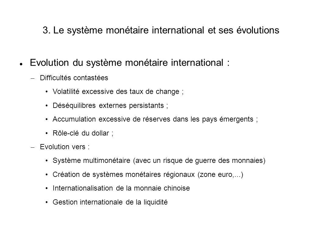 3. Le système monétaire international et ses évolutions Evolution du système monétaire international : – Difficultés contastées Volatilité excessive d