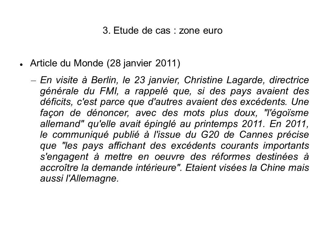 3. Etude de cas : zone euro Article du Monde (28 janvier 2011) – En visite à Berlin, le 23 janvier, Christine Lagarde, directrice générale du FMI, a r