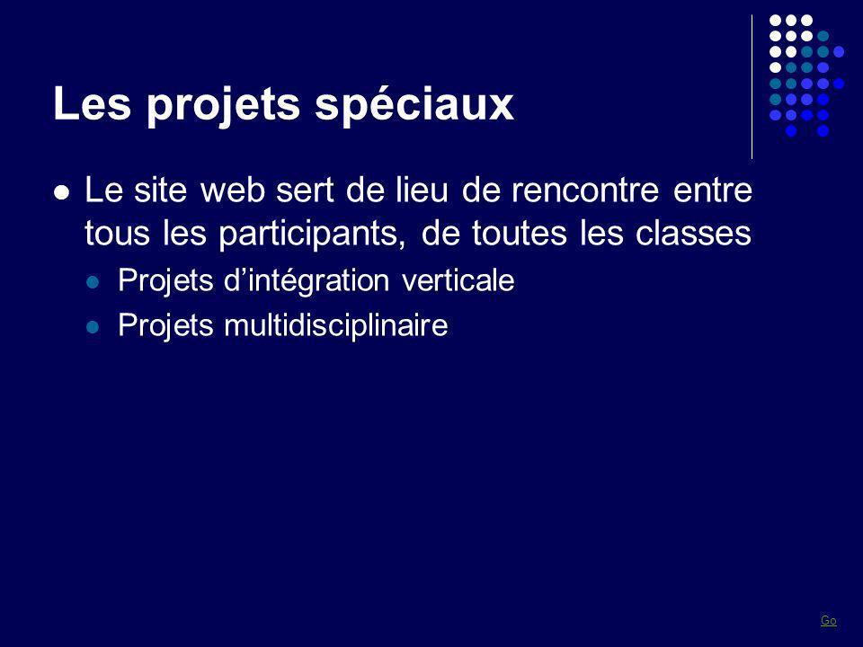 Les projets spéciaux Le site web sert de lieu de rencontre entre tous les participants, de toutes les classes Projets dintégration verticale Projets m