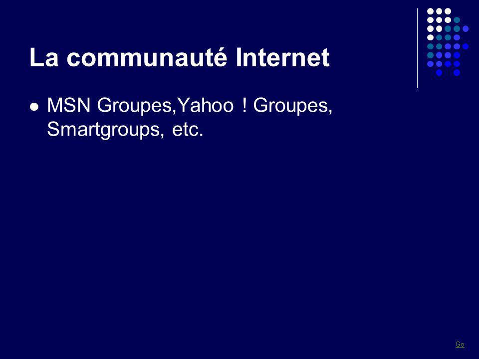 La communauté Internet MSN Groupes,Yahoo ! Groupes, Smartgroups, etc. Go