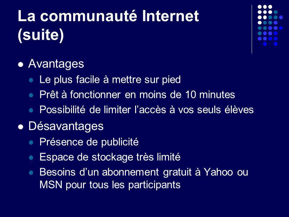 La communauté Internet (suite) Avantages Le plus facile à mettre sur pied Prêt à fonctionner en moins de 10 minutes Possibilité de limiter laccès à vo