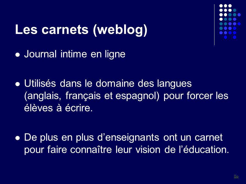 Les carnets (weblog) Journal intime en ligne Utilisés dans le domaine des langues (anglais, français et espagnol) pour forcer les élèves à écrire. De