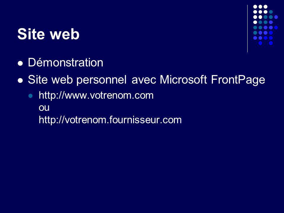 Site web Démonstration Site web personnel avec Microsoft FrontPage http://www.votrenom.com ou http://votrenom.fournisseur.com