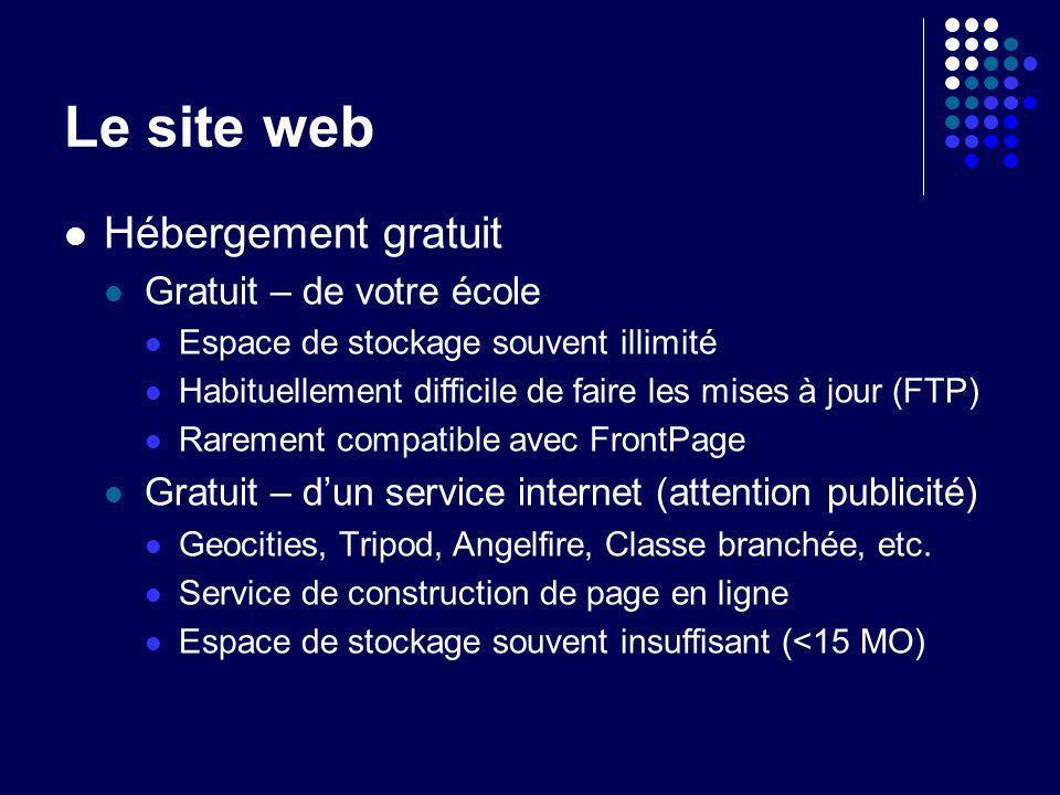 Le site web Hébergement gratuit Gratuit – de votre école Espace de stockage souvent illimité Habituellement difficile de faire les mises à jour (FTP)