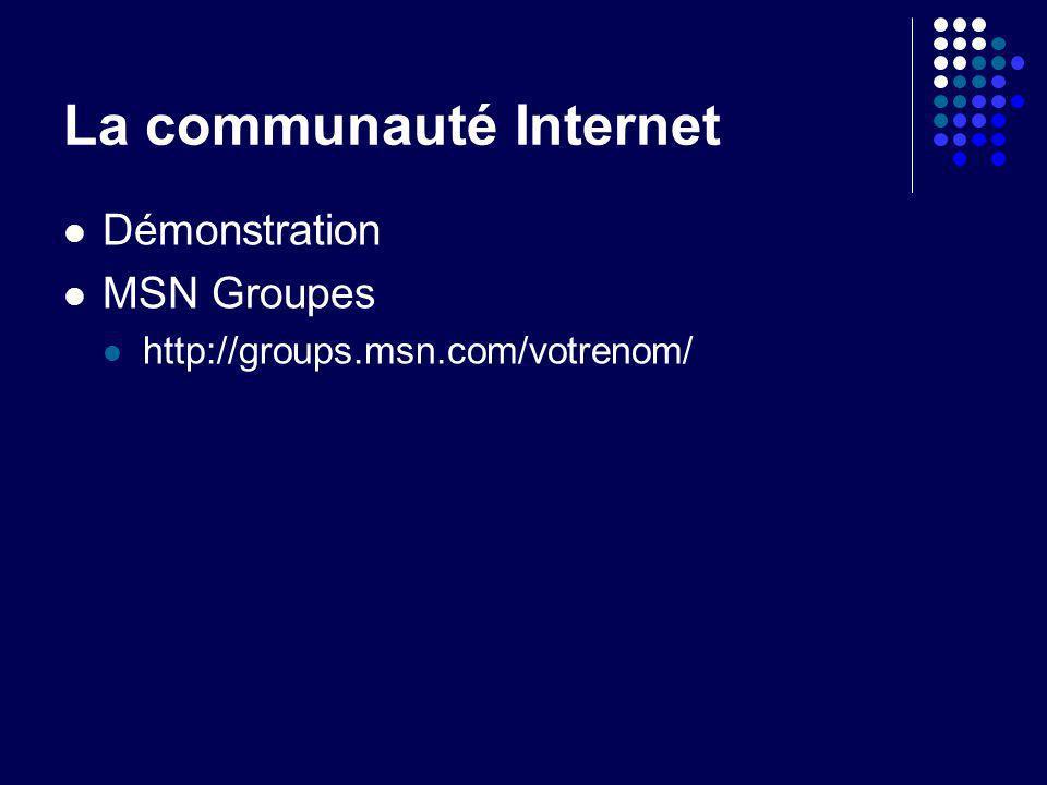 La communauté Internet Démonstration MSN Groupes http://groups.msn.com/votrenom/
