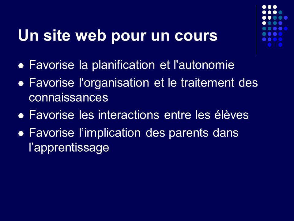 Un site web pour un cours Favorise la planification et l'autonomie Favorise l'organisation et le traitement des connaissances Favorise les interaction