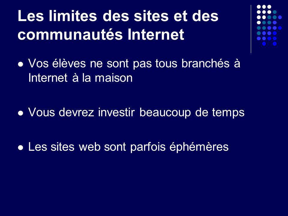 Les limites des sites et des communautés Internet Vos élèves ne sont pas tous branchés à Internet à la maison Vous devrez investir beaucoup de temps L