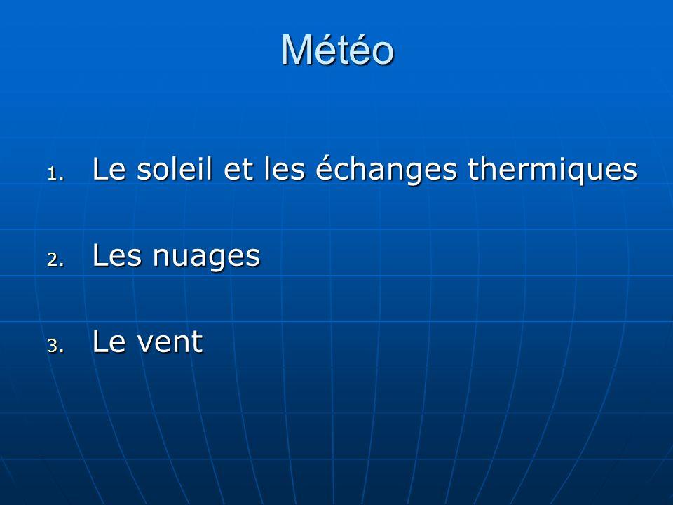 Météo 1. Le soleil et les échanges thermiques 2. Les nuages 3. Le vent