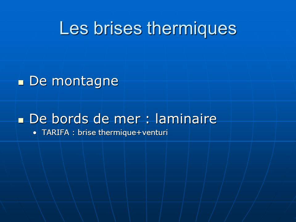 Les brises thermiques De montagne De montagne De bords de mer : laminaire De bords de mer : laminaire TARIFA : brise thermique+venturiTARIFA : brise t
