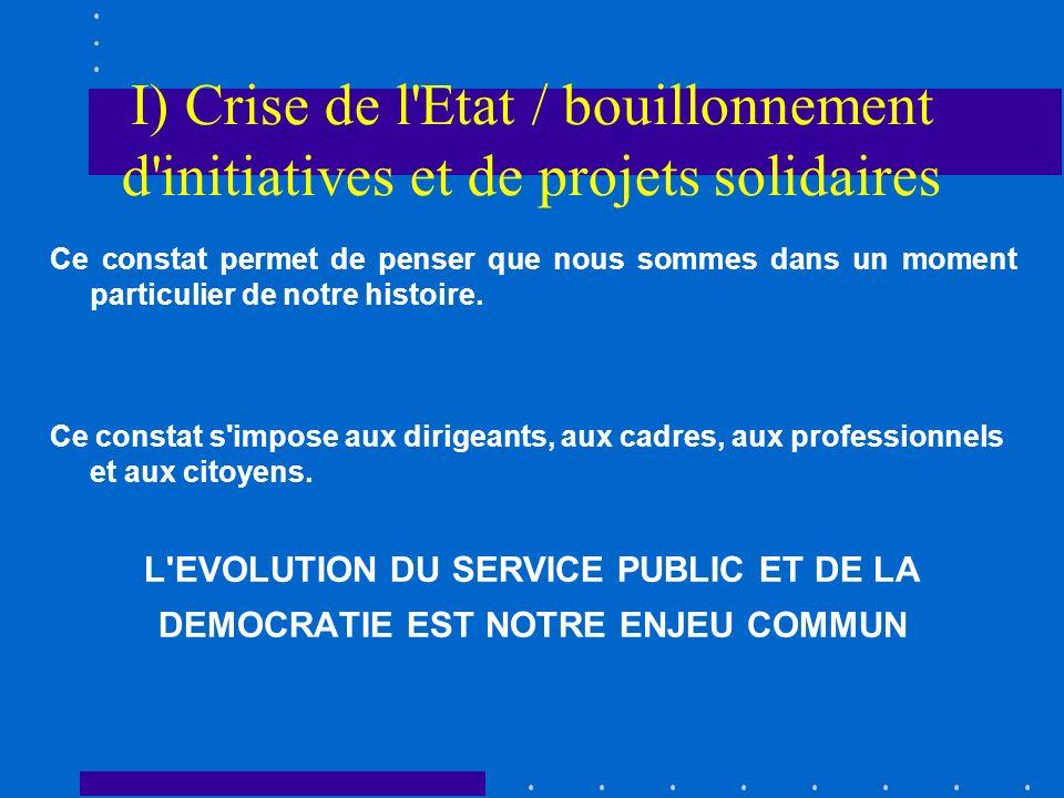 I) Crise de l'Etat / bouillonnement d'initiatives et de projets solidaires Ce constat permet de penser que nous sommes dans un moment particulier de n