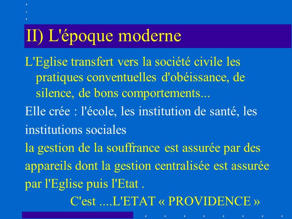 II) L'époque moderne L'Eglise transfert vers la société civile les pratiques conventuelles d'obéissance, de silence, de bons comportements... Elle cré