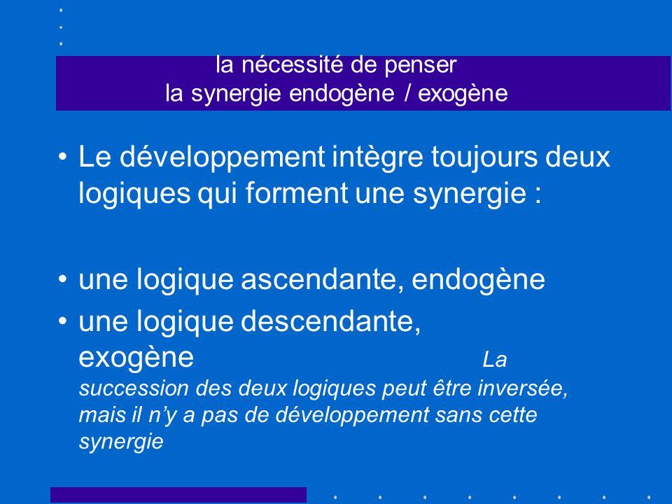 la nécessité de penser la synergie endogène / exogène Le développement intègre toujours deux logiques qui forment une synergie : une logique ascendant
