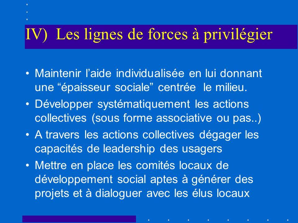 IV) Les lignes de forces à privilégier Maintenir laide individualisée en lui donnant une épaisseur sociale centrée le milieu. Développer systématiquem
