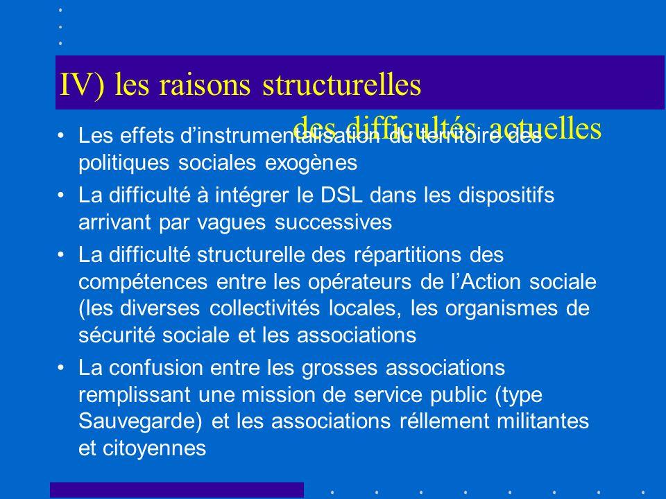 IV) les raisons structurelles des difficultés actuelles Les effets dinstrumentalisation du territoire des politiques sociales exogènes La difficulté à