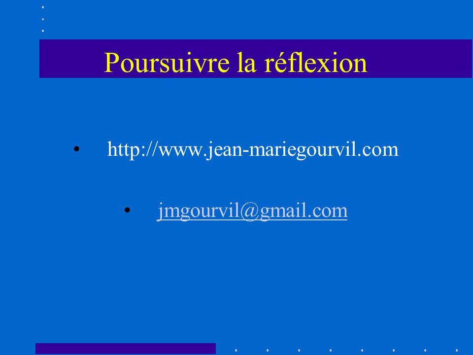 Poursuivre la réflexion http://www.jean-mariegourvil.com jmgourvil@gmail.com
