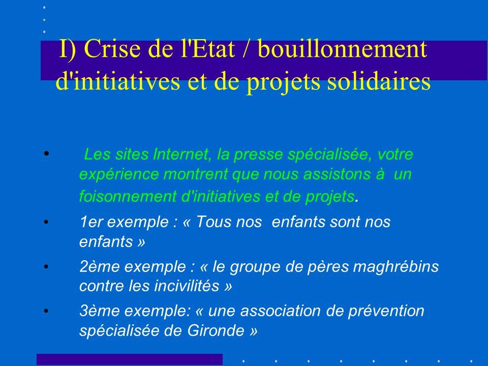 I) Crise de l'Etat / bouillonnement d'initiatives et de projets solidaires Les sites Internet, la presse spécialisée, votre expérience montrent que no